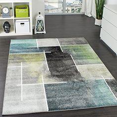Designer Teppich Kariert Modern Trendig Meliert Eyecatcher in Grau Türkis Grün Grösse:160220 cm