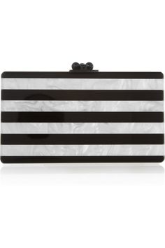Edie Parker | Jean striped pearl-effect box clutch | NET-A-PORTER.COM