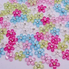 Mix color 10mm cute resin flower with rhinestone flatback cabochon for DIY phone,nail art decoration