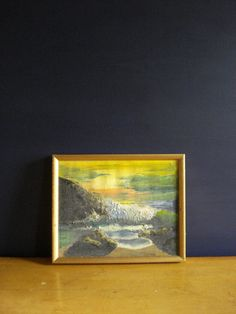 Sunset Coast  Vintage Framed Painting  Small Oil by HappyGoVintage, $42.00