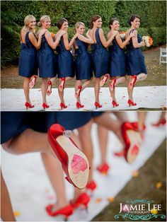 bridesmaids, blue, color, red shoes, bridesmaid dresses, orange weddings, the dress, bridesmaid shoes, the navy