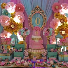 Pink, blue and gold baby shower party! See more party planning ideas at CatchMyParty.com!