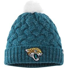 8875ea1b7a685 Women s  47 Teal Jacksonville Jaguars Fiona Cuffed Knit Hat with Pom