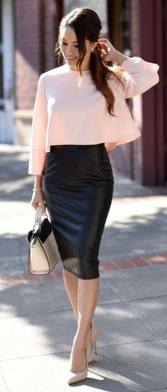 how to style a leather pencil skirt : blush blouse + bag + heels