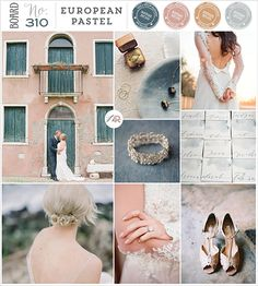 Board 310: European Pastel - Photos from top left; Couple in Venice ROCHELLE CHEEVER / Jewellery image ERICH MCVEY / Bride PRITTI / Escort cards BRUSH & PETAL / Shoes CASSIDY BROOKE / Ring PRITTI / Hairstyle GABI HAIRSTYLIST, Photo by COCO TRAN via Style me Pretty / Ring ROBERT & KATHLEEN - via Magnolia Rouge