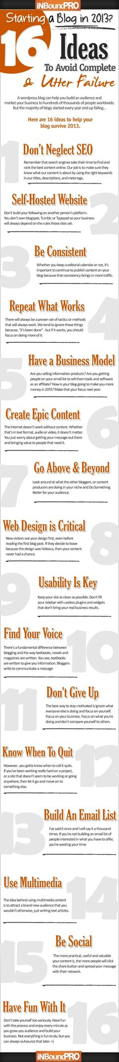 Starting a Blog in 2013? 16 Ideas To Avoid Complete and Utter Failure in this infographic.