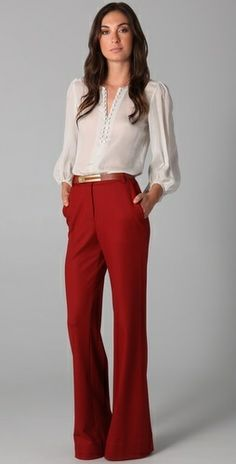 Red flared pants + blouse