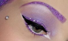 Lavender and Purple glitter Makeup Party Eye Makeup, Red Lip Makeup, Body Makeup, Glitter Makeup, Glam Makeup, Makeup Art, Makeup Tips, Beauty Makeup, Hair Makeup