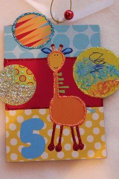Great Giraffe Wood Slice Ornament Children Birthday Gift Signed Lichtenstein