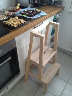 Good with less cross bars for them to use as ladder to the worktop! Add a removable bar/rope at the back so safe but can also still be used by adults.