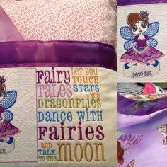 Pocket pillow fairy reading pillow purple child's reading pillow fairy fabric fairy tales quote zip close purple satin birthday embroidered by Littlebirdproductset on Etsy