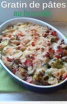 gratin de pâte au brocolis, champignons et lardons