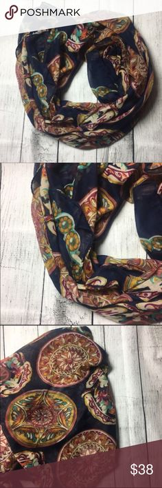 "🆕Stunning scarf ❤️ One of my personal favorites. This scarf has definitely caught some eyes and have gotten a lot of compliments. So happy I found another one to sell on here. It's super cute and versatile. Can dress up any outfit when worn. I love the patterns and colors in this scarf. It is made out of 💯 % polyester materials 💋😘❤️️about 75"" long Dorimas Closet Accessories Scarves & Wraps"