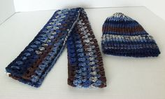 Handmade Blue Multi Scarf with Matching Knit by SnugableTouches, $15.00