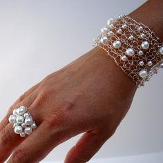 Bracelet and Ring Set  White Pearl Bubbles  unique by lapisbeach, $90.00