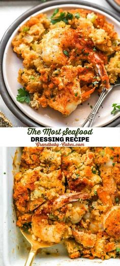 Seafood Dressing is the ultimate twist on a Classic Thanksgiving stuffing side dish.  Rich tender cornbread mixes with fresh shrimp, lump crab, fresh herbs, spices and a homemade seafood stock to create the ultimate decadent side. #dressing #stuffing #seafood #shrimp #crab #cornbreaddressing #cornbreadstuffing #thanksgiving