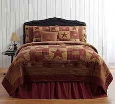 Transform you room into a comforting atmosphere with our Ninepatch Star King Quilt Bundle (Quilt, Skirt and 2 Luxury Shams)! https://www.primitivestarquiltshop.com/products/ninepatch-star-king-quilt-bundle-quilt-skirt-and-2-luxury-shams #primitivecountrybedroomsbeddingandaccessories