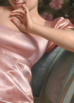 La Coquette by Vittorio Reggianini (detail) - my favorite thing EVER = satin or silk painted this well