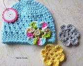 Baby Hat with Flower - Crochet Hat with Flower for Baby - Girls Hat - Baby Hat - Cotton Baby Girl Hat - Crochet Baby Girl Clothes - pinned by pin4etsy.com