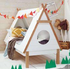 Купить Детская кроватка-домик - бежевый, кроватка, кровать, кровать из дерева…