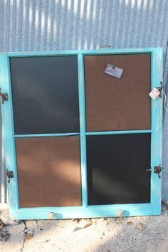 Large upcycled Old Window Chalkboard / burlap covered cork board. Shabby Chic Turquoise frame, Brown Burlap  Eightysix56.etsy.com