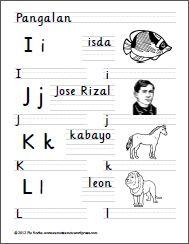 I to L Jose Rizal, Handwriting Worksheets, Tagalog, Writing Practice, Reading Material, Filipino, Kids Learning, Preschool, Language