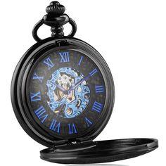 hochwertige Taschenuhr mit Handaufzug präzsises Mechanikuhrwerk und Acrylglas blaue Elemente und elegantes Metallgehäuse Skelett-Design zeigt das mechanisch Uhrwerk schicker und robuster Uhrendeckel
