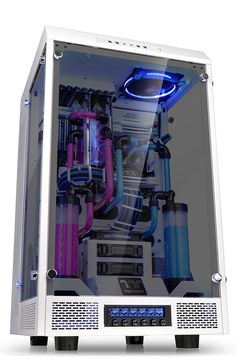 Thermaltake The Tower 900 Snow Edition E-ATX Vertical Super Tower - - PLE Computers Online Australia Computer Gaming Room, Computer Build, Gaming Room Setup, Computer Setup, Best Gaming Setup, Gamer Setup, Game Room Kids, Game Room Basement, Bedroom Setup