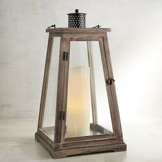 Newport Extra-Large Brown Wood Lantern