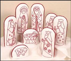 The Posy Collection Folkart Redwork Nativity - Embroidery Kit. Kit includes preprinted figures on white Kona cotton fabric, instructions, floss, and finishing i Hand Embroidery Patterns Flowers, Embroidery Cards, Towel Embroidery, Crewel Embroidery Kits, Embroidery Supplies, Embroidery Thread, Embroidery Designs, Fabric Christmas Decorations, Alphabet Quilt