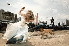 Ninja warriors super heroes Bride and Groom Trash the Dress with guns and dogs.