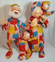 VTG LG RARE Annalee Christmas Santa & Mrs Clause Children Store Display Mobility #Annalee #DollswithClothingAccessories