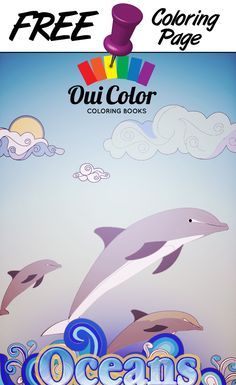 #Free #Oceans #ColoringPage from Oui Color Coloring Books #Dolphins #adultcoloring #adultcoloringpage #coloringbook #Oceans #nature
