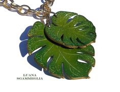 https://flic.kr/p/UPABPy | Tropical leaves | Polymer clay necklace