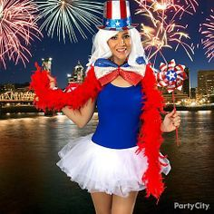 Dazzle on the 4th of July! Style together a glittery top hat, sequined bow and pinwheel to put a feminine spin on Uncle Sam's signature look! Click for details & more 4th outfits!