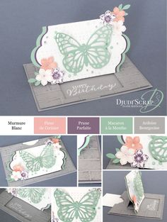 """- Tutoriel Carte Anniversaire Tirette """"Thinlits Papillons"""" Plus Butterfly Birthday Cards, Diy Butterfly, Butterfly Cards, Fancy Fold Cards, Folded Cards, Card Making Templates, Slider Cards, Bee Cards, Shaped Cards"""