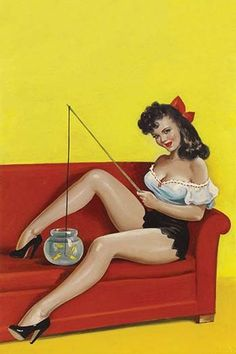 Beautiful Girl sits on a couch holding a toy fishing rod and dipping the line into a fishbowl