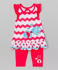 Look what I found on #zulily! Pink Fish Tunic & Leggings - Infant, Toddler & Girls #zulilyfinds