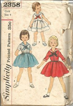 1950s Girls' Sailor Collar Dress with Tie Full Skirt by kinseysue