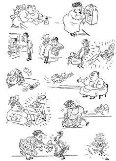 Love by Correspondence. Vintage cartoons by the Danish artist Herluf Bidstrup.