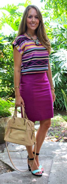 Tribal top with purple pencil skirt | J's everyday fashion. I have a ton of purple tops. Maybe if I had a patterned purple skirt, it could help me creating more visually interesting outfits.