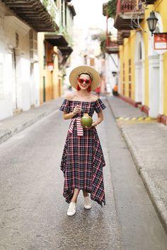 Dress: Christine Alcalay. Shoes: Sezane. Top: Saint James. Bag: Cult Gaia. Hat: Topshop. Sunglasses: Celine. Earrings: Net-A-Porter.