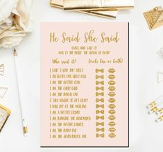 Printable Blush and Gold Bridal Shower He Said She Said Bridal Shower Game Instant Download  This listing is for (1) INSTANT DOWNLOADABLE PDF