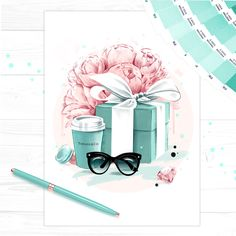 Art Print of 'Tiffany Blue', by Fashion Illustrator Cristina Alonso. Hand signed, stamped and embellished in order to offer a unique produc...