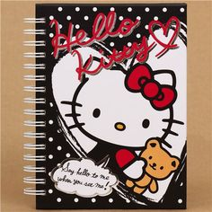 black Hello Kitty with teddy bear ring binder notebook