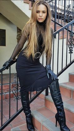 Tight High Boots, Thigh High Boots Heels, Over The Knee Boots, High Heels, Tall Leather Boots, Leather Gloves, Black Boots, Girl Fashion, Womens Fashion