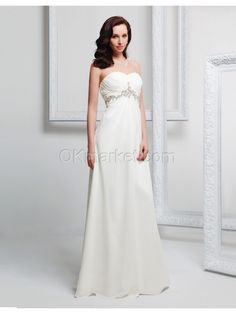 Sweetheart Strapless Beading Chiffon Sheath Ivory Wedding Dress  Silhouette: Sheath Silhouette  Neckline: Strapless Slightly Curve neckline  Hemline: Floor Length  Train: Brush train  Sleeve Length: Sleeveless  Embellishments: Beading  Back Details: Lace up  Fully Lined: Yes  Built-In Bra: Yes  Fabric: Chiffon  Color: Ivory  Wedding Venuse : Church, Hall  Processing Time : Tailoring Period 17~20 working days, Please contact us if rush order    For Custom… $171.00
