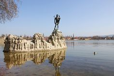 Sculpture in the water (Statue of St. John the Baptist) - Tata, Hungary