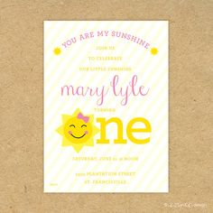 Cute PRINTED You are my Sunshine Birthday Party by evincedesign