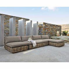 Cape Town - Esquina de sofá de jardín de resina trenzada gris ...